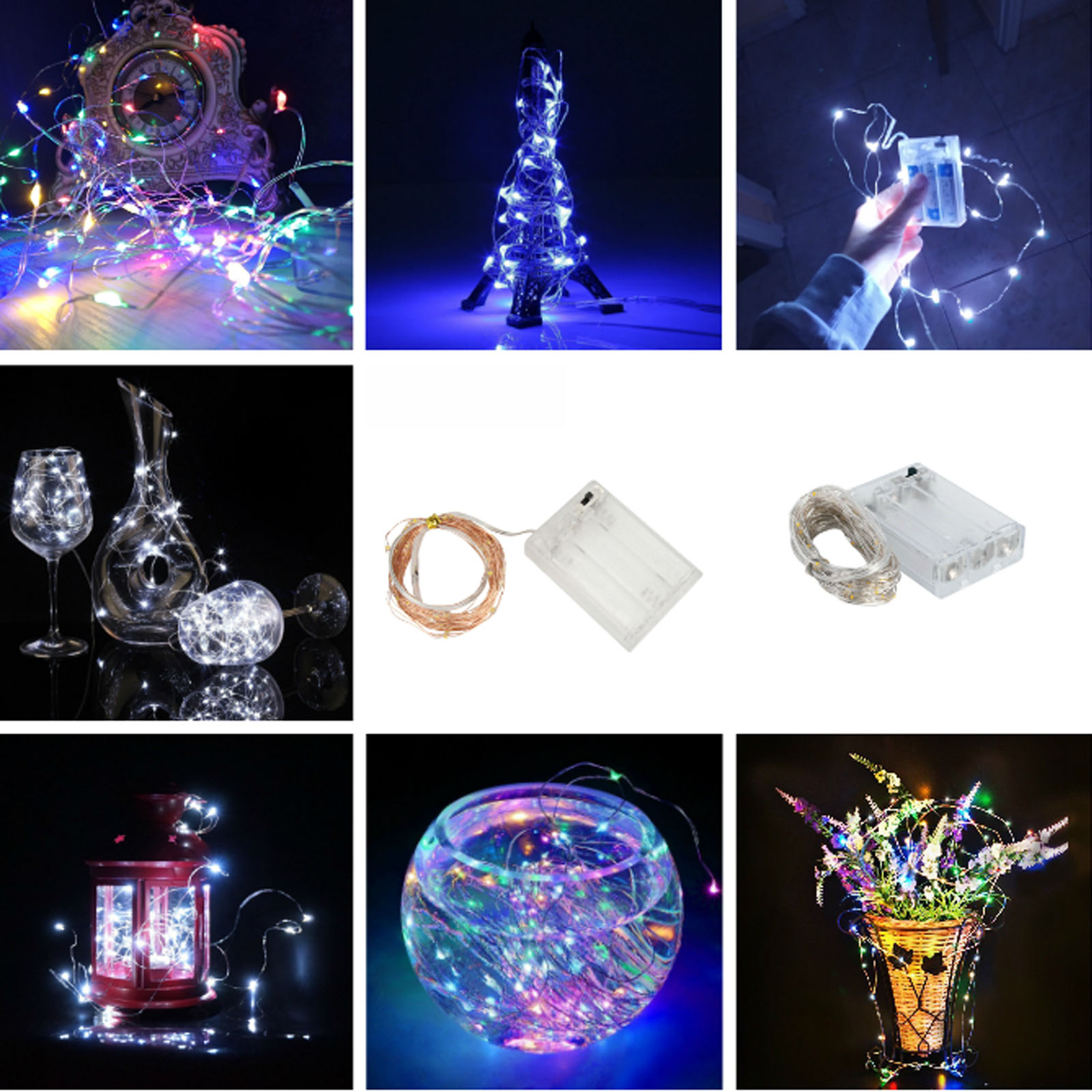 2M 3M 5M 10M Outdoor LED String Lights Holiday Lighting Fairy Garland For Christmas Tree Wedding Party Decor Powered  Battery