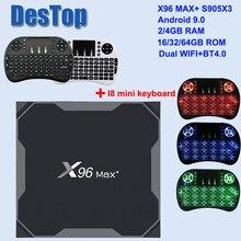 X96 MAX PLUS Android 9.0 TV BOX 4GB 64GB 32GB Amlogic S905X3 2GB 16GB 8 GB K เครื่องเล่น Wifi YouTube HD Netflix 1000M X96 MAX X3