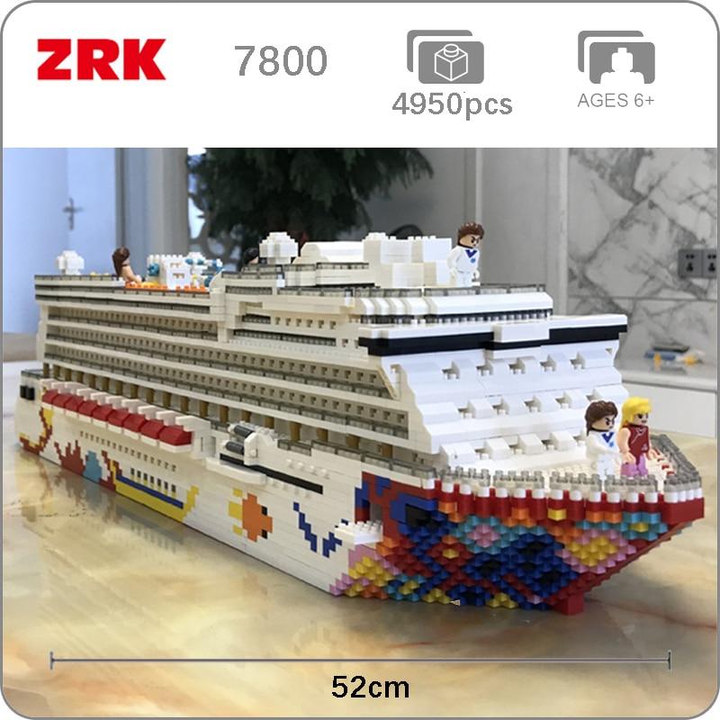 The Luxury Cruise Liner Ship Big Boat 3D Model 4950pcs DIY Diamond Mini Building Small Blocks Bricks Toy For Children No Box