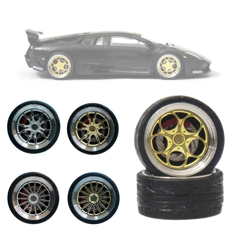 4pcs/set Alloy Wheels Tire Set Axles Vehicle Wheels Retro Thick Tire Modified Alloy Car Refit Wheels For 1/64 Vehicle Car Model