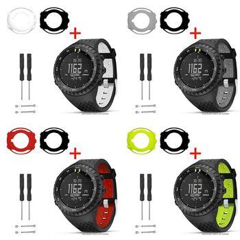 1Set 1 conjunto de dos Tono de silicona suave correa de muñeca/correa de reloj Anti-arañazos ver carcasa de pantalla Protector para Suunto Core reloj inteligente