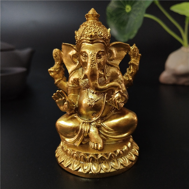 Golden Ganesha Statue Buddha Elephant God Sculpture Ganesh Figurines Resin Craft Home Garden Flowerpot Decoration Buddha Statues