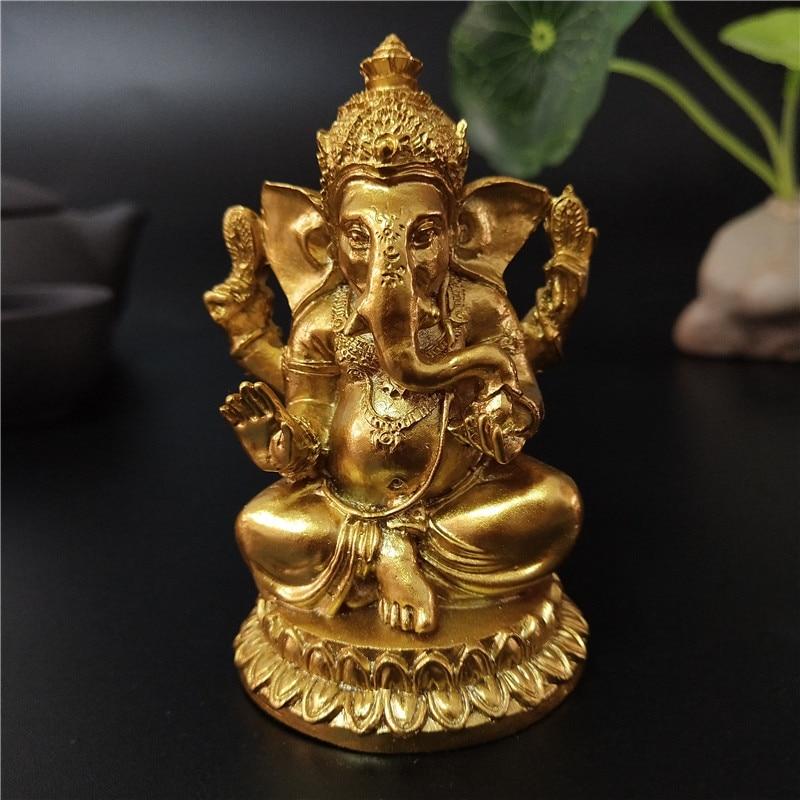Golden Ganesha Statue Buddha Elephant God Sculpture Ganesh Figurines Resin Craft Home Garden Flowerpot Decoration Buddha Statues