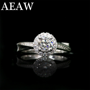 10K 14K 18K White gold 0.5ct Moissanite Engagement Ring For Women white gold plated silver image