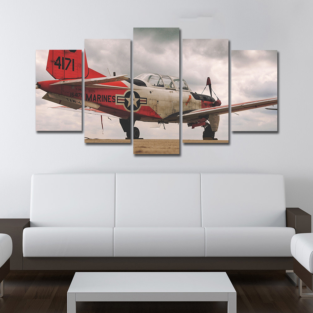 AAHH Big Size 5 Panel Canvas Painting Red Fighter Picture Print on Canvas Wall Art Picture for Living Room Home Decor With Frame in Painting Calligraphy from Home Garden