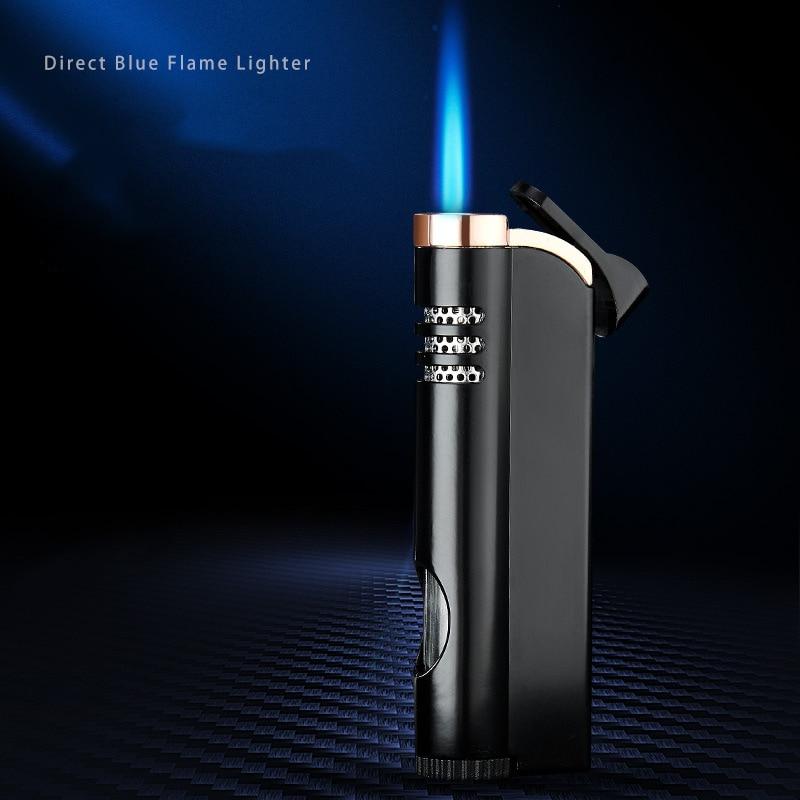 Torch  Windproof Cigar Lighter Turbo Lighter 1 Jet Butane Gas Cigarette Metal Pocket Lighter For Kitchen Blue Heavy Flame  JX39