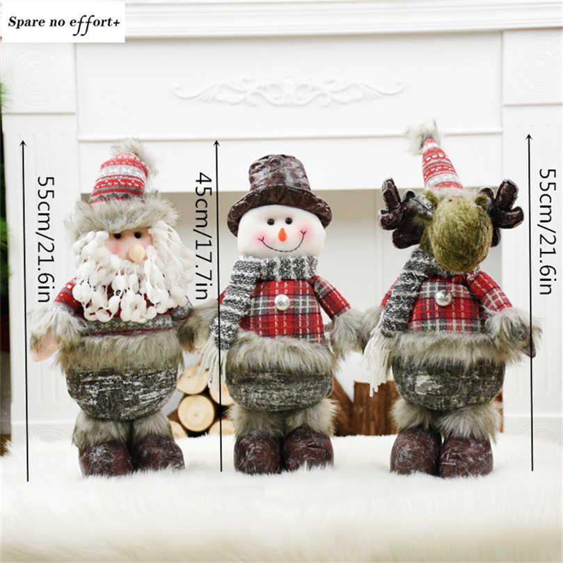 Christma Santa Claus Snowman Rusa Mainan Dekorasi Natal untuk Rumah Xmas Patung-patung Adornos De Navidad Tahun Baru Hadiah untuk Anak-anak
