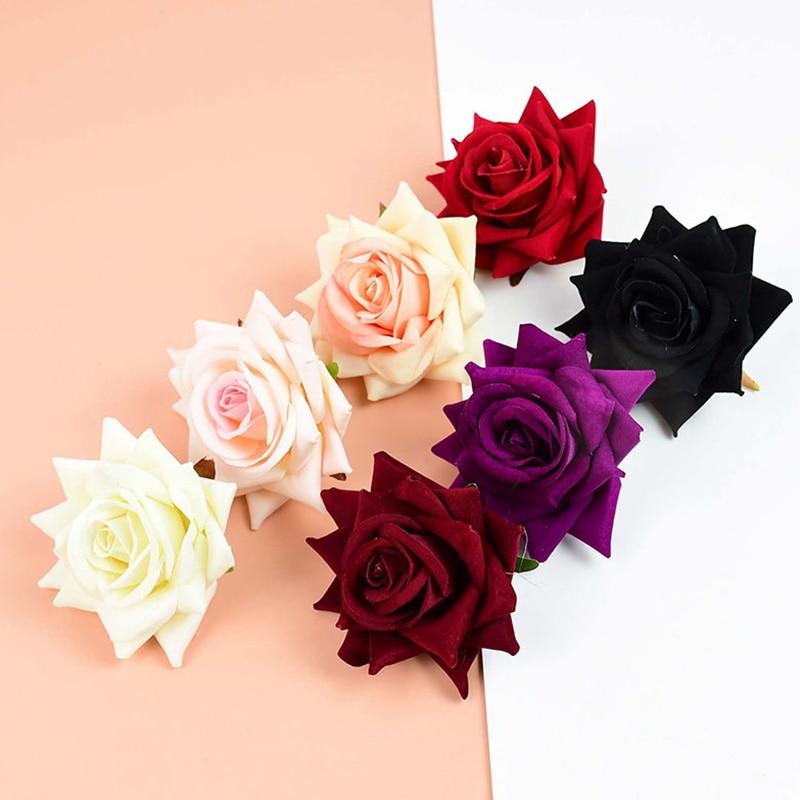 10 шт. фланелевая шелковая головка розы для домашвечерние НКИ, свадебное украшение, искусственные цветы, букет невесты «сделай сам», венок, с...