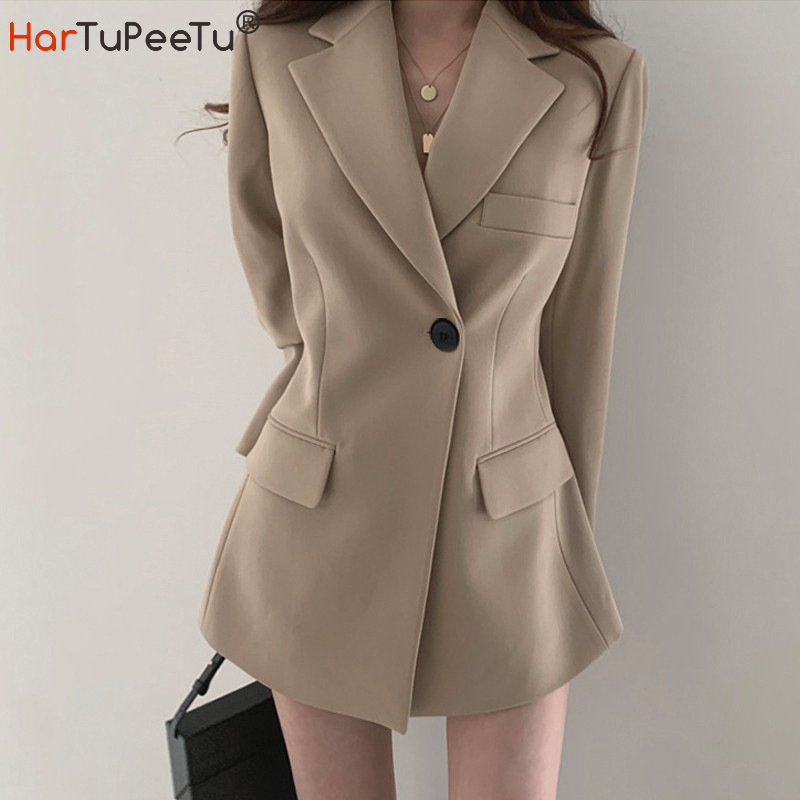 Long Blazer Women Cool Work Jacket Casual Slim Fit Khaki Black Autumn 2020 for Office Ladies Tunic Outwear with Pockets