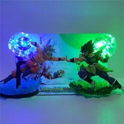 Настольная лампа Dragon Ball Z Broly VS Goku, светодиодная фигурка, ночные светильники, рождественский подарок, Broli Ultra Goku, освещение, Lampara DBZ, визуальный ...