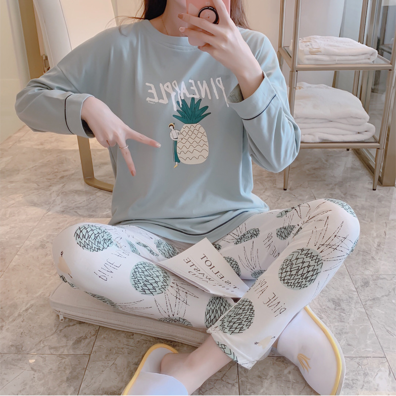 Pajamas Women's Spring And Autumn Long Sleeve Pure Cotton Korean-style Students Cute Pineapple Set Sweet Autumn And Winter Outer
