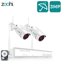 Zoohi 1080P 2CH Wireless Security Camera System 2.0MP WiFi HD Video Surveillance Camera System Kits IP66 Outdoor Night Vision
