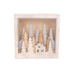 Bożonarodzeniowe światełka Led kwadratowe pudełko ozdoby świąteczne drewniane ozdoby świąteczne wiszące ozdoby świąteczne ładny świąteczny prezent dekoracje weselne