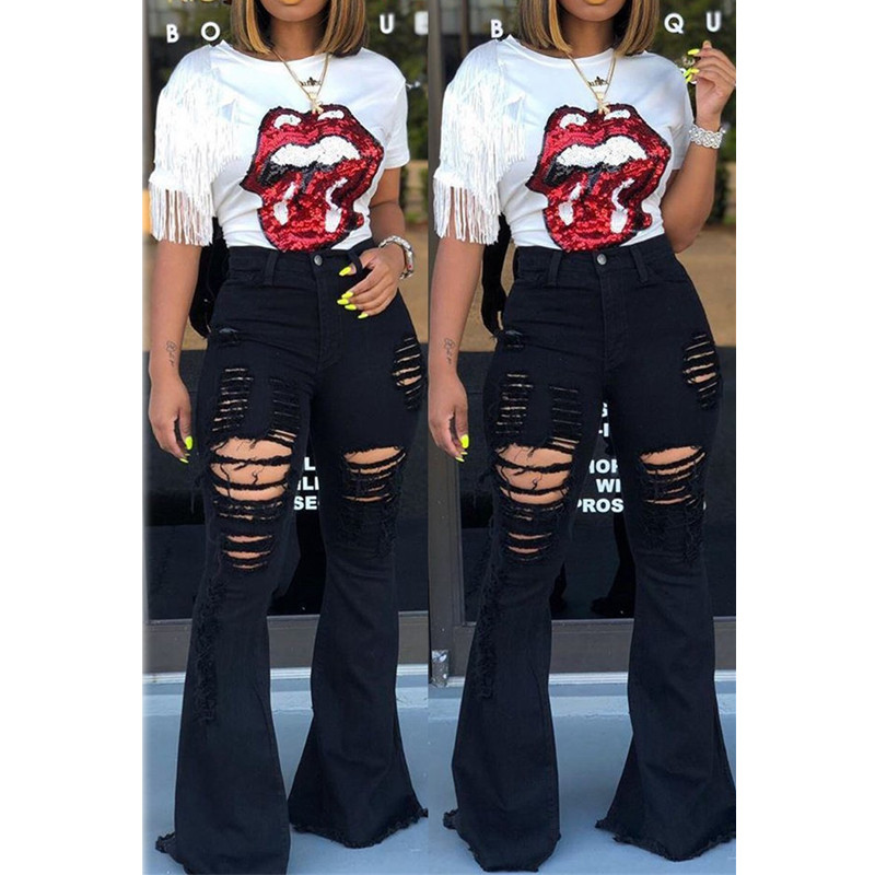 Women Denim High Waist Flare Jeans Boyfriend Ripped Calca Jeans Lady Skinny Bell Bottom Jeans Pants Wide Leg Mom Jeans Plus Size