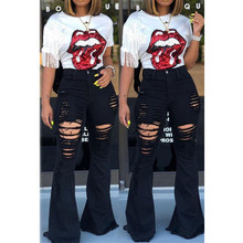 Women Denim High Waist Flare Jeans Boyfriend ripped calca jeans Lady Skinny bell bottom jeans Pants Wide Leg Mom Jeans plus size цены онлайн
