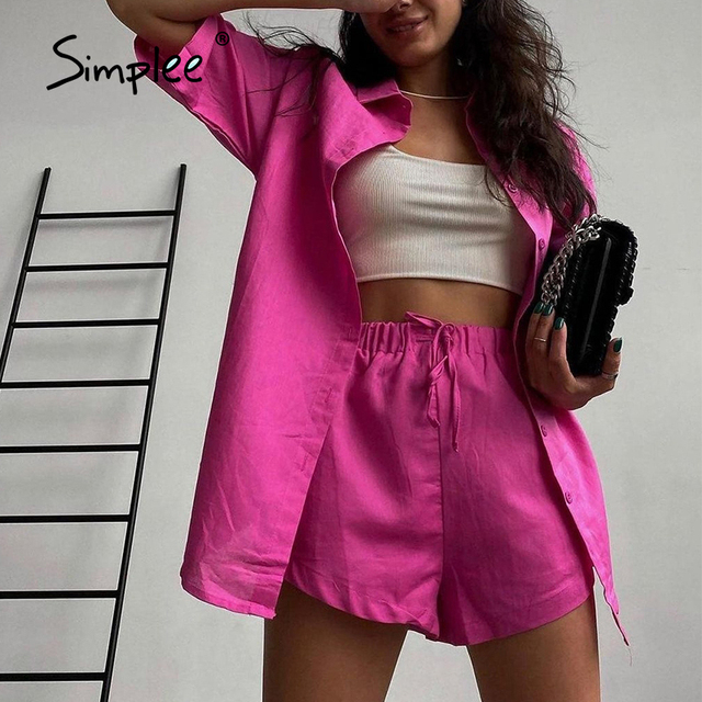 Simplee Casual lace up short sleeve summer set women  Loose button two-piece sport sets  Elastic waist lapel fitness tracksuits 1
