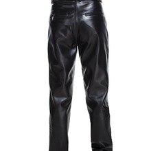 Men Genuine Leather Pants Mid-rised Pants Spring Autumn Winter Warm Pockets Casual Straight Pants Zipper Men's Full Length Pants