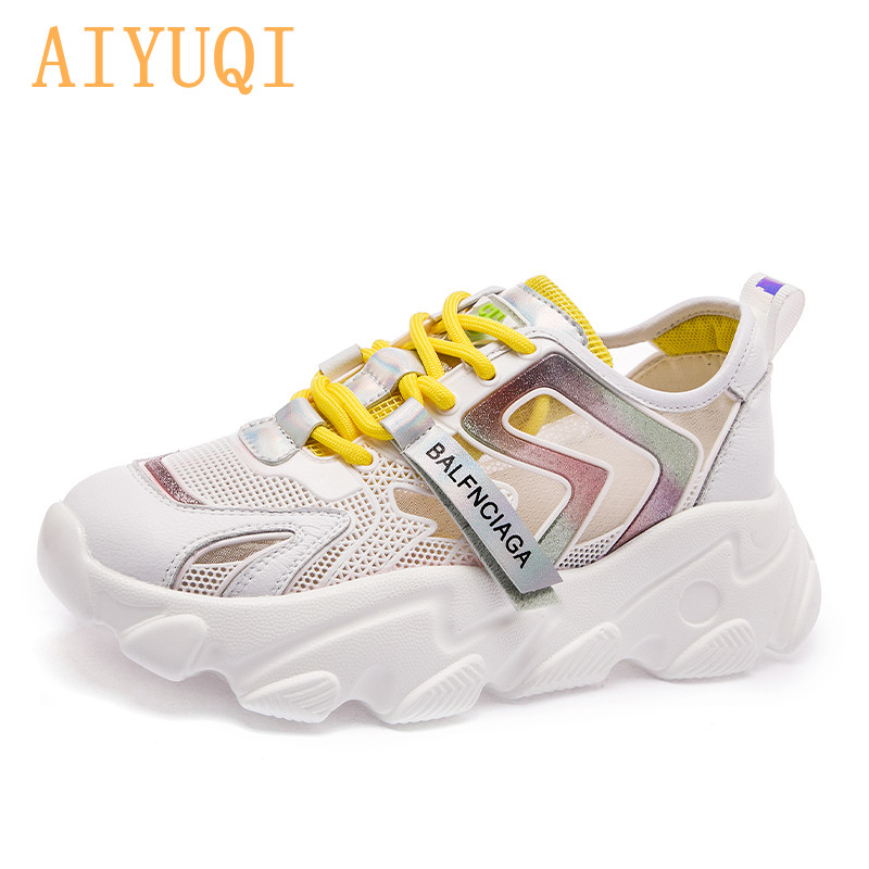 AIYUQI/женские кроссовки; Новинка 2021 года; Дышащие сетчатые повседневные кроссовки; Женская летняя обувь для девушек; Обувь для студентов