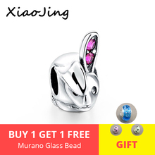 Hot sale 925 Silver charms cute animal rabbit Beads with pink CZ ears Fit authentic pandora Bracelets diy Jewelry making Gifts