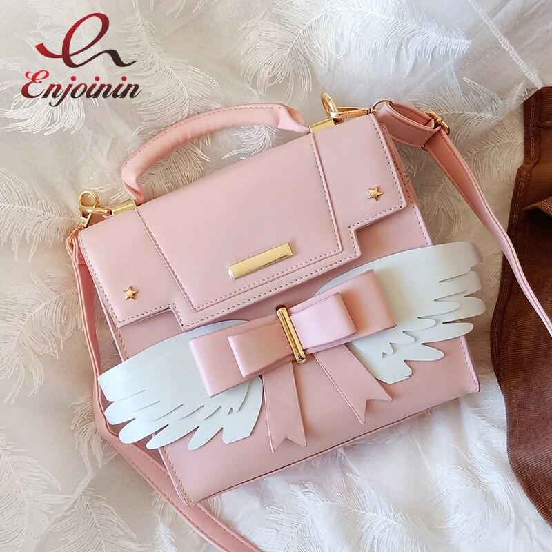 Lolita Wings Bow Girl's Shoulder Bag Crossbody  Bag for Women Pink Purses and Handbags Girl's Bat Bag Designer Bag Pu Leather