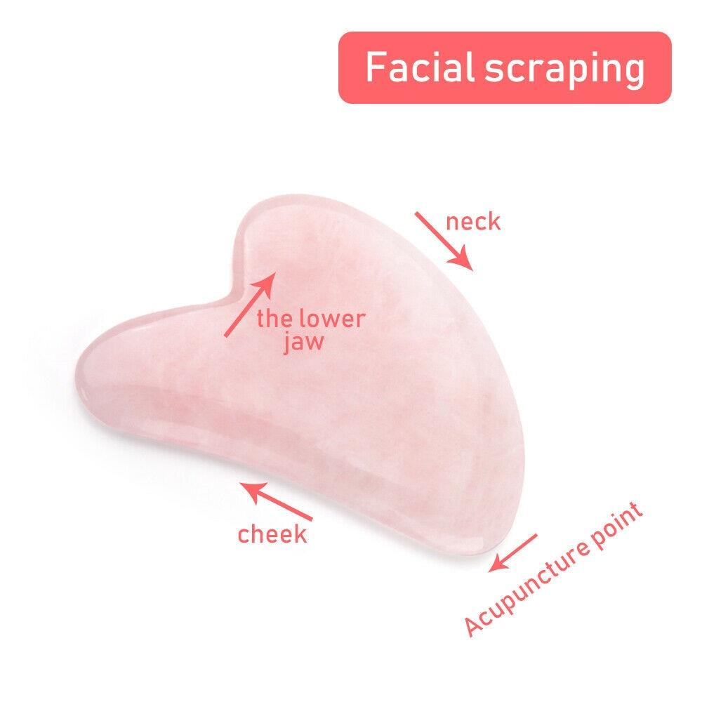 """Natūralaus nefrito """"Gua Sha"""" akmens lentos masažas rožinis - Įrankių odos priežiūros - Nuotrauka 2"""