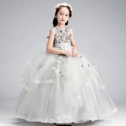 Детское платье принцессы для девочек, свадебное платье с цветочным узором для девочек, Поющая одежда для игры на фортепиано, длинное платье
