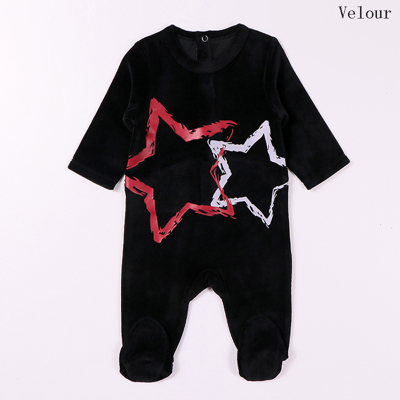 Baby romper pyjamas kids clothes long sleeves children clothing stars baby overalls velour boy and girl clothes footies romper