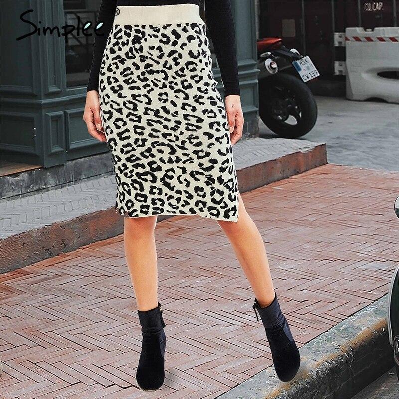 Simplee Leopard Print Knitted Skirt Women Autumn Elastic High Waist Female Short Sweater Skirt Side Split Ladies Party Skirt