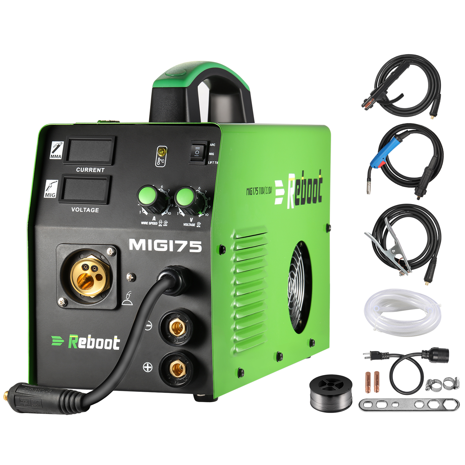 MIG Welder MIG-175 Gas/Gasless DC 220V 5KG 2 In 1 Flux Core Wire And Solid Wire IGBT Inverter Welding Machine MMA MIG MAG
