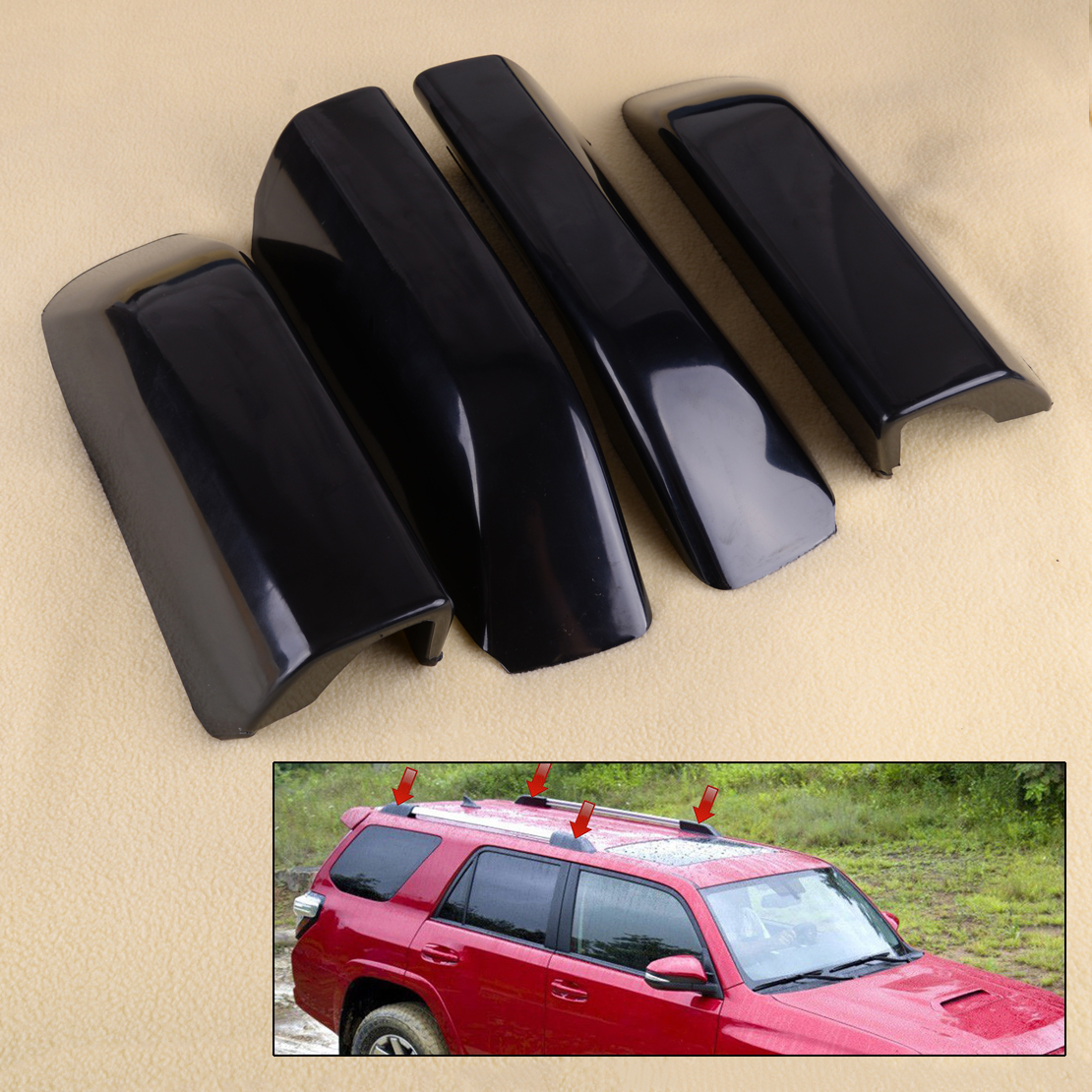 beler 4PCS Roof Luggage Rack Rail End Cover Shell fit for Toyota <font><b>4Runner</b></font> N280 <font><b>2010</b></font> 2011 2012 2013 2014 2015 2016 2017 2018 image