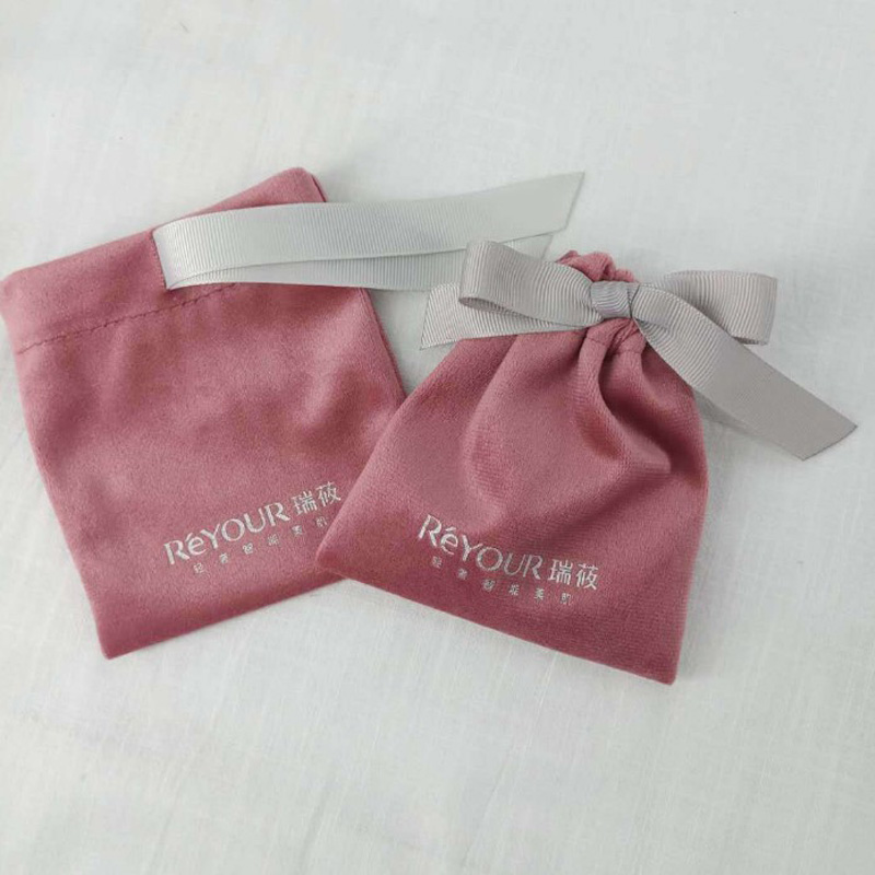 Pink Flannel Jewelry Gift Bags 8x10cm (3x4inch) 10x12cm((4x4.7inch) pack of 50 Eyelashes Makeup real Velvet Drawstring Pouches