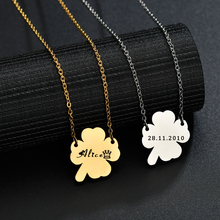 Acheerup Engraving Four Leaves Clover Pendant Stainless Steel Women Necklace Custom Name Letters Gold Chain Jewelry Couple Gift