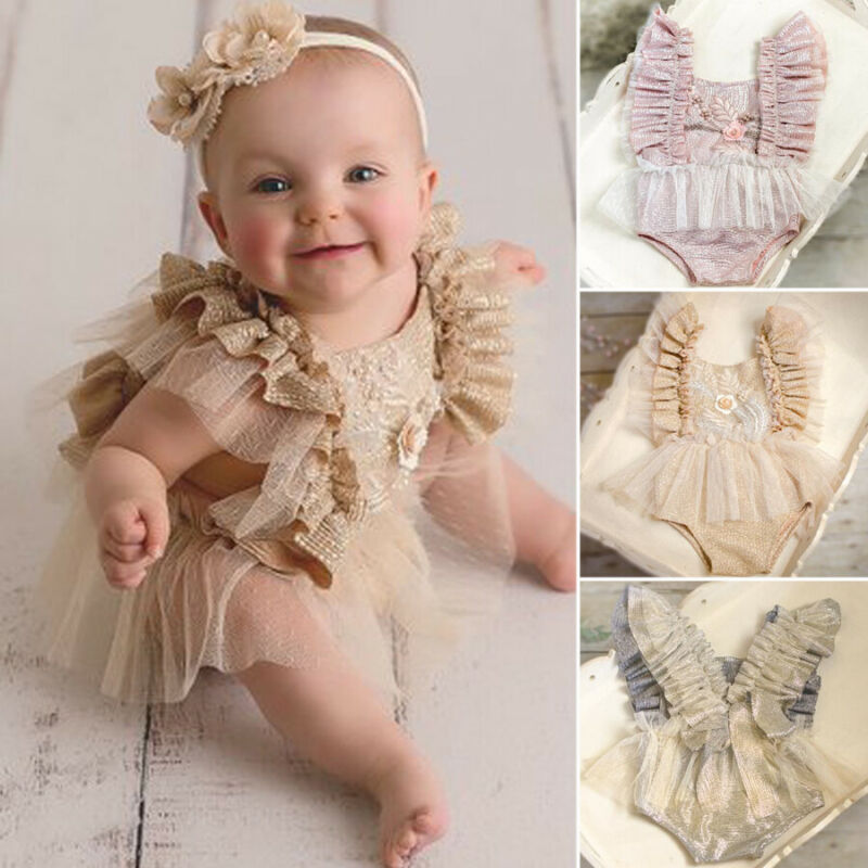 Newborn Infant Baby Boy Girl Solid Fly Ruffle  Sleeveless Flower Outifit Bodysuit Toddler Baby Kids Cute Fashion Clothes 3-24M