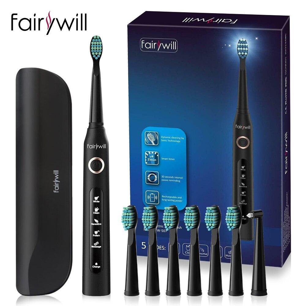 Fairywill escova de dentes sônica elétrica FW-507 carga usb recarregável adulto à prova dwaterproof água eletrônico 8 escovas substituição cabeças
