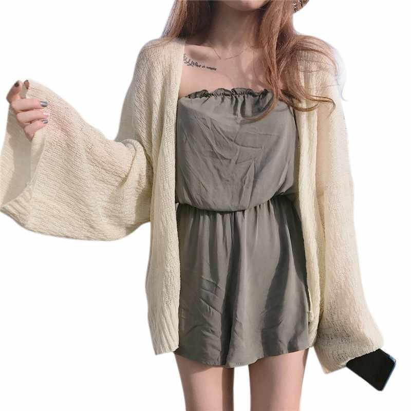 Летний солнцезащитный крем для женщин сексуальный вязаный кардиган рубашка женские блузки повседневные женские топы