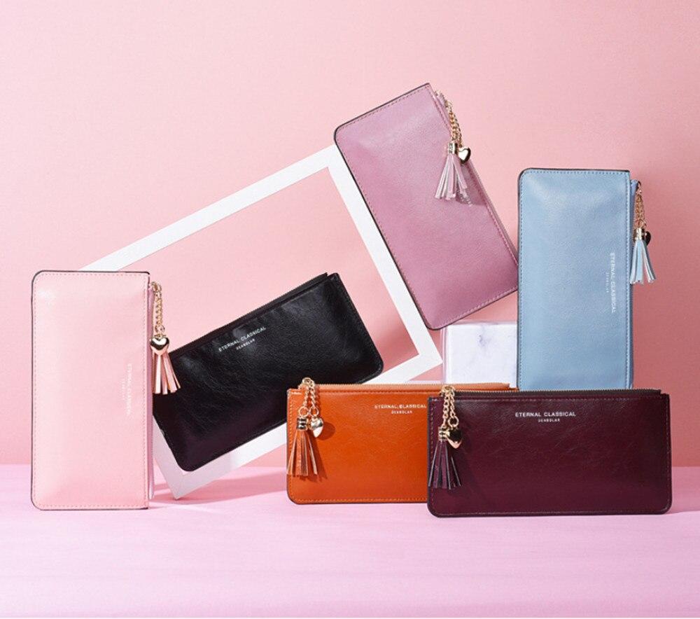 Neue frauen Lange Brieftasche frauen handy tasche ultra dünne helle leder süße Pu Brieftasche Geldbörse Brieftaschen mit