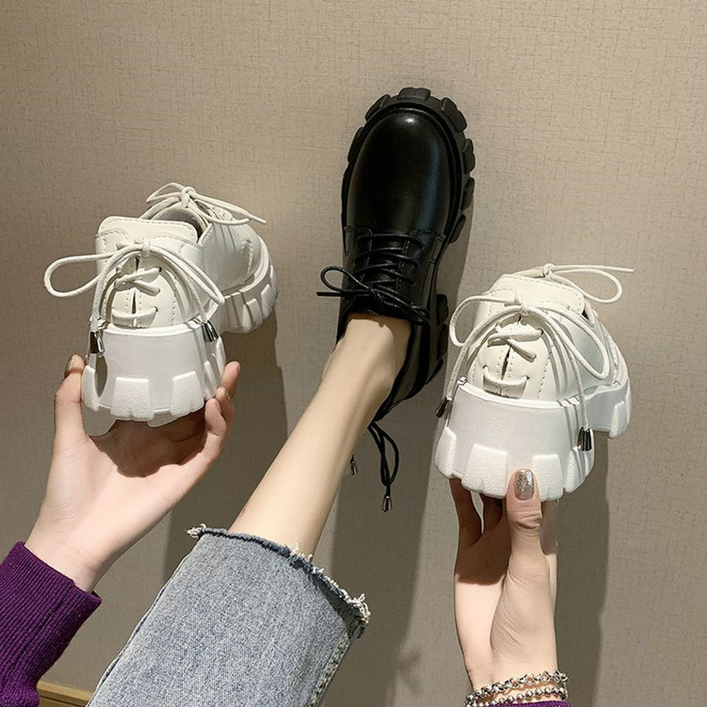 Women Lace Up Leather Low Heel With Fur Shoes Non-slip Ladies Thick Bottom Sneakers Height Increase Casual Shoes B62-14 JY