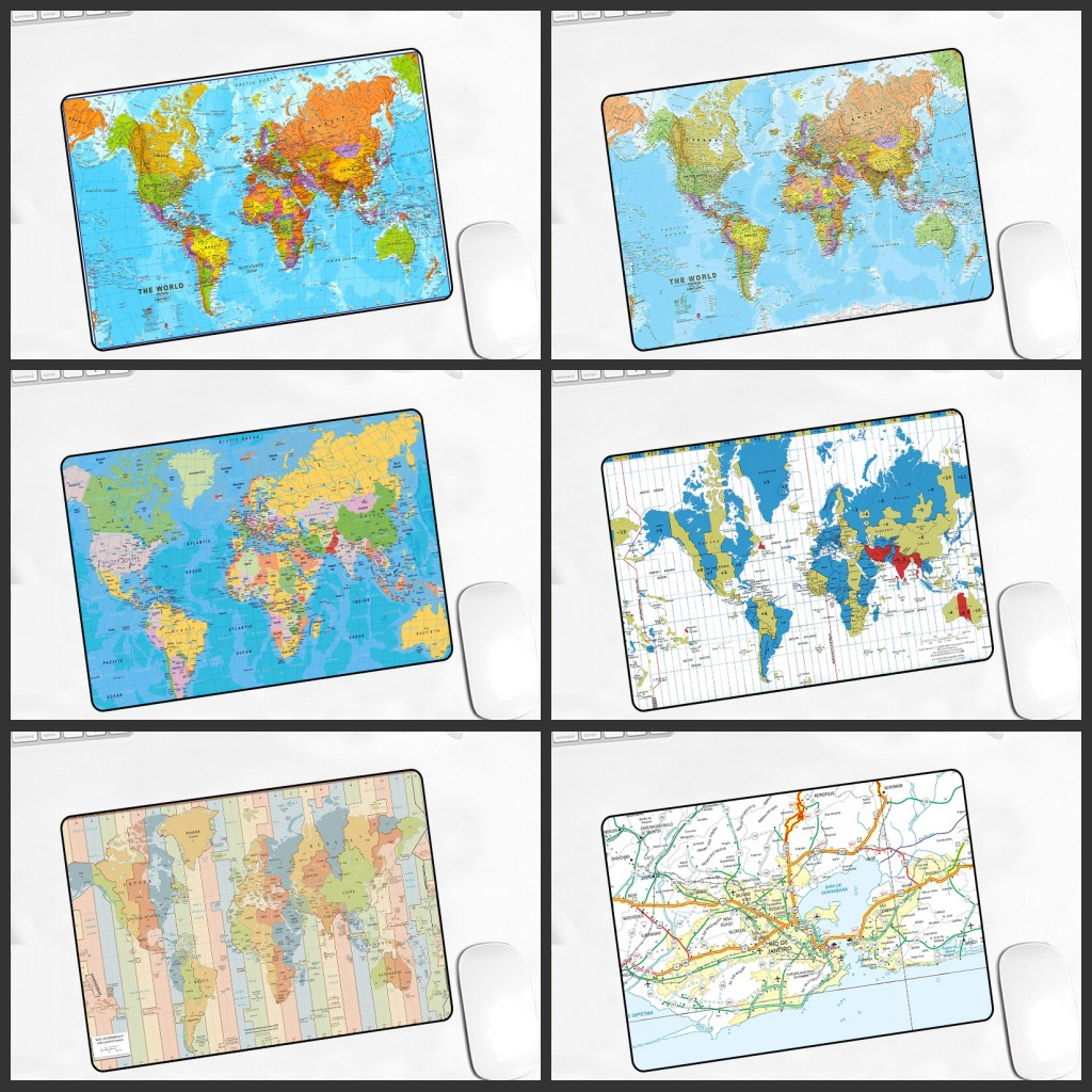 XGZ Promotional Game Player Mouse Pad 180X220X2MM World Map Printing Pc Speed Keyboard Mousepad Smooth Soft Non-slip