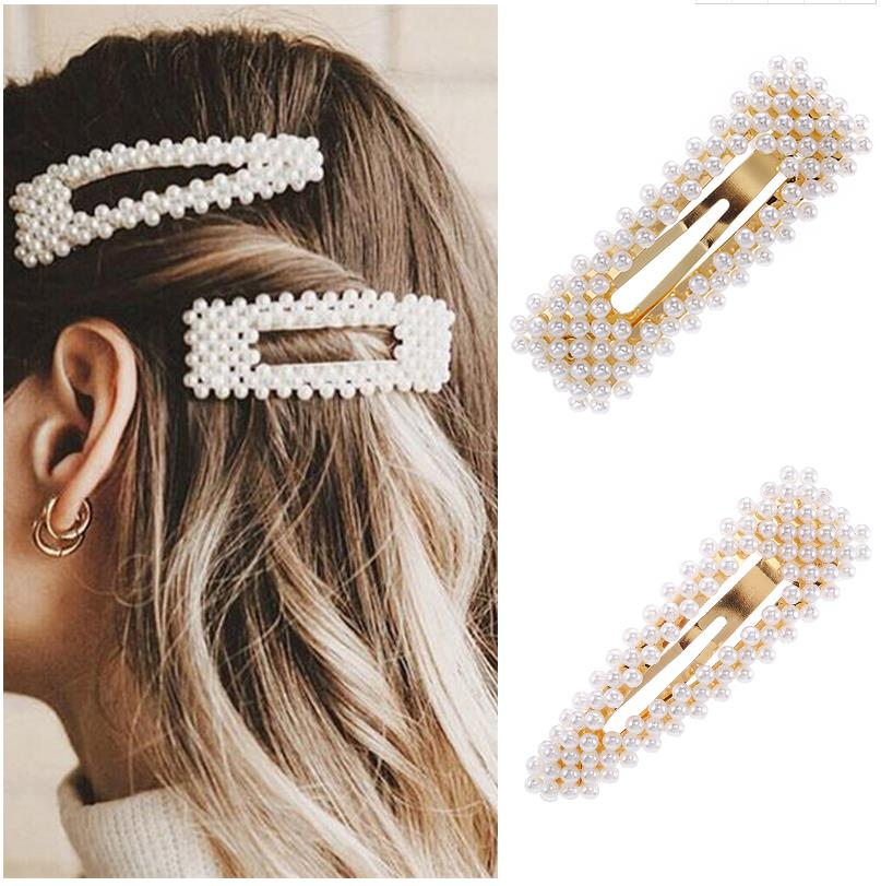 2019 New Fashion Pearl Hair Clip For Women Elegant Korean Design Snap Barrette Stick Hairpin Hair Styling Accessories Hair Pins