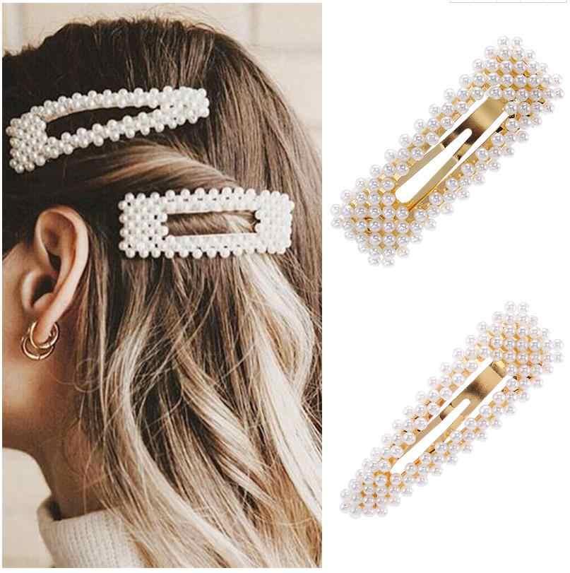 2019 New Fashion Pearl Hair Clip for Women Elegant Korean Design Snap Barrette Stick Hairpin Hair Styling Accessories Hair Pins