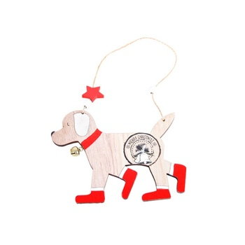 Dog Design Wooden Christmas Pendants Xmas Tree Hanging Drop Ornaments Holiday Party Supplies image