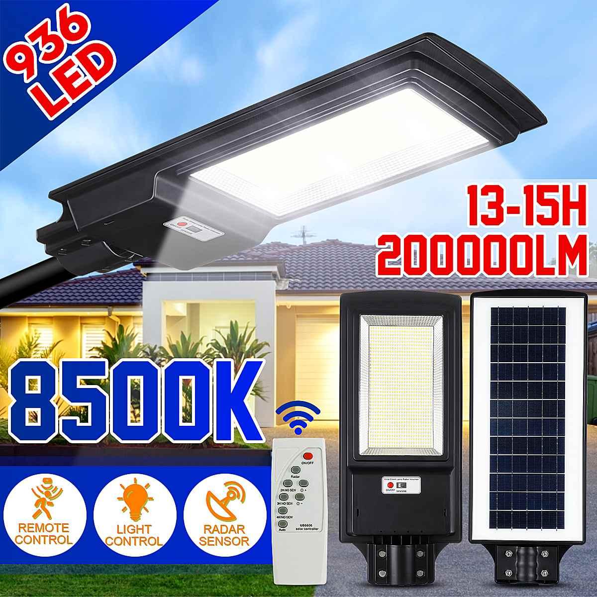 3600W Solar Street Road Light Motion Sensor+RemoteControl Outdoor Yard