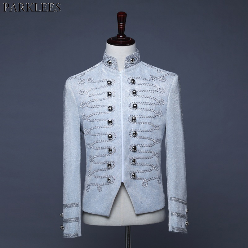 Men's Punk Officer Military Drummer Blazer Jacket Double Brested Stand Collar Vintage Blazers Mens Stage Prom Orchestra Costumes