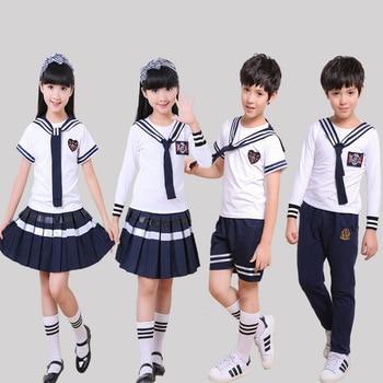 цена на Children's summer uniforms chorus service small navy performance clothing costumes pupils kindergarten clothing