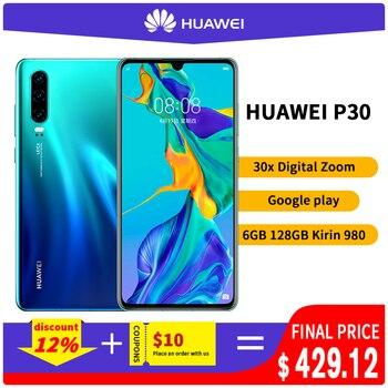 Original Huawei P30 6GB 8GB 128GB Kirin 980 Smartphone 30x Digital Zoom Quad Camera 6.1'' Full Screen OLED NFC 3650mAh 1