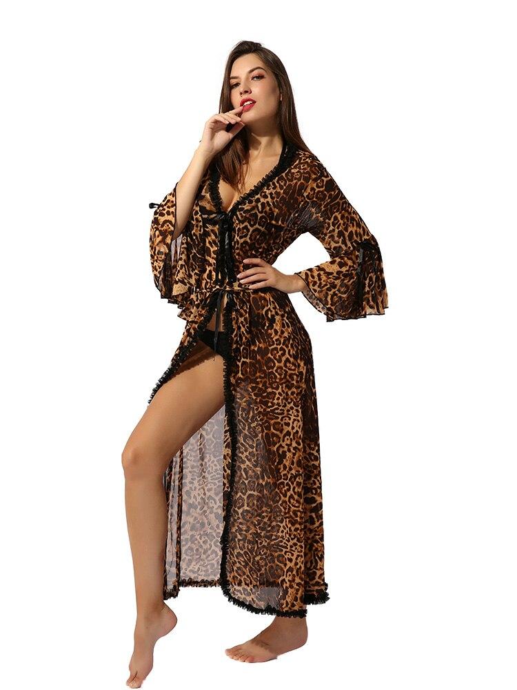Women Leopard Print Nightgown Long Sleeves V Neck Nightwear Wraparound Open Front Waist Strap Casual Dress Robe