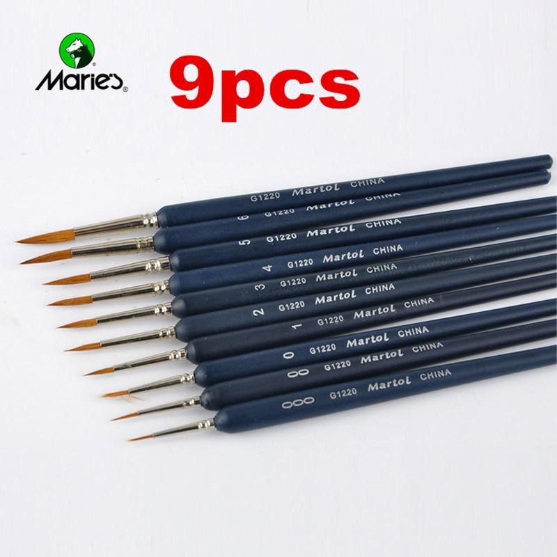 9pcs/Set Paint Brushes Artist Weasel Hair Brush Pen For Gouache Watercolor Paint Oil Painting For Beginners Artists