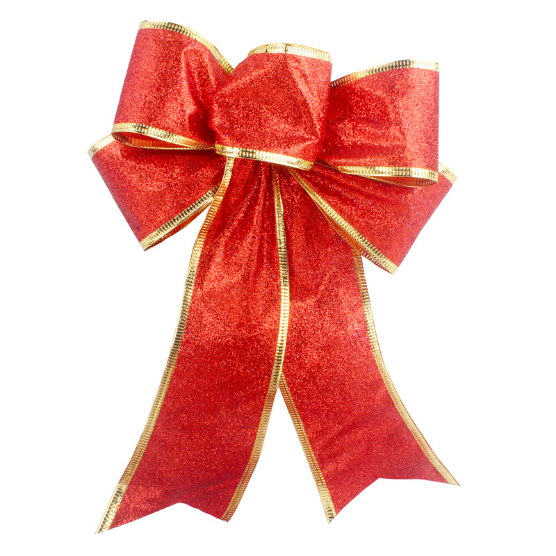3-Sizes Silver or Red Christmas Tree Tie-On Glitter Bows Decorations Gold