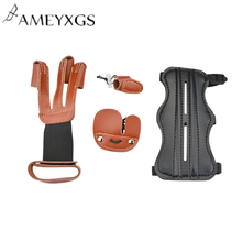 1Set Archery Arm Guard Finger Guard Kit 3 Finger Protection Gloves Set Bow And Arrow Outdoor Hunting Shooting Accessories 5pcs archery finger guard silicon arrow bow string shooting finger tab glove protection for outdoor camping shooting accessories