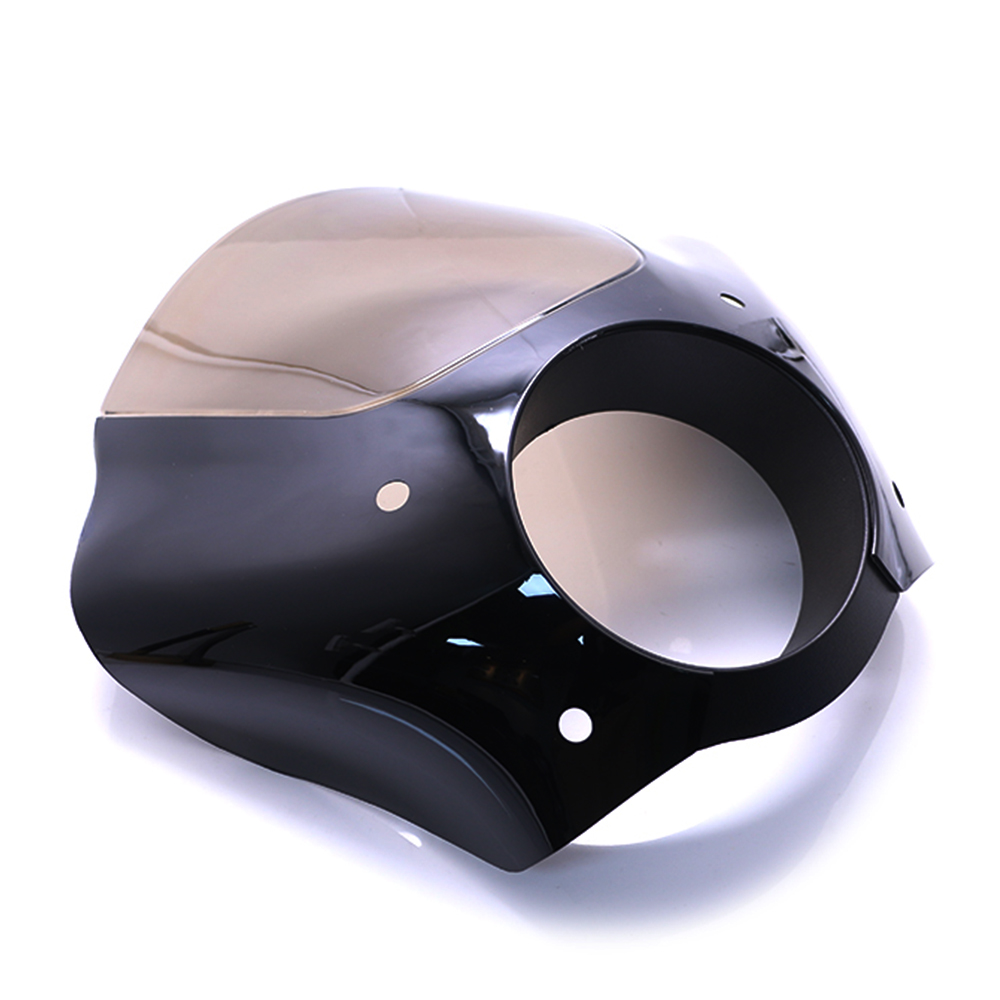 """For Sportster XL883 XL1200 Road King Electra Glide Dyna Glossy Black Headlight Fairing Cowl Cover Mask 7"""" Smoke"""